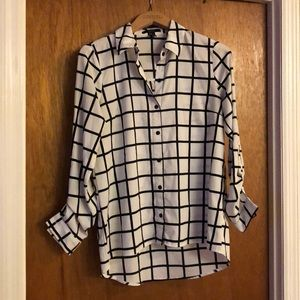 Forever 21 black and white check dress shirt